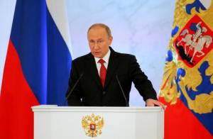 Russian President Putin delivers speech during his annual state of nation address at Kremlin in Moscow