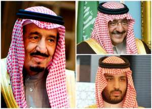 King Salman bin Abdulaziz, Crown Prince Muhammad bin Nayef bin Abdulaziz (top right) and Deputy Crown Prince Muhammed bin Salman bin Abdulaziz (bottom right)