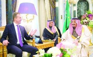 King Salman holds talks with Norwegian FM Borge Brendein Riyadh on Thursday.