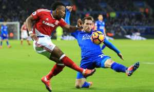 Adama Traoré, left, breezes past Christian Fuchs during Middlesbrough's recent draw at Leicester City. Photograph: Nigel French/PA