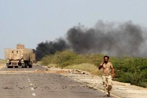 Yemeni forces patrol a main road near Mocha on January 20, 2017.