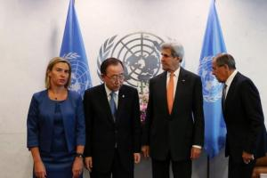 (L to R) High Representative of the European Union for Foreign Affairs and Security Policy Federica Mogherini, United Nations Secretary-General Ban Ki-moon, U.S. Secretary of State John Kerry and Russian Foreign Minister Sergey Lavrov gather before a Middle East Quartet Principals Meeting during the during the 71st Session of the United Nations General Assembly in Manhattan, New York, U.S., September 23, 2016. REUTERS/Andrew Kelly