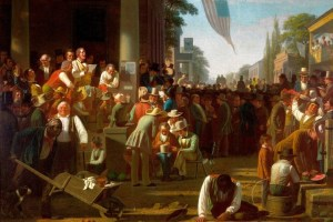 "George Caleb Bingham's ""The Verdict of the People"" from 1855, which historians say depicts public reaction to a likely proslavery candidate's election victory, was chosen as the painting that will be displayed behind the president's table at the inaugural luncheon. (Saint Louis Art Museum)"