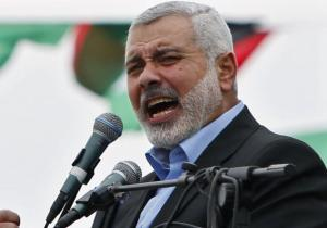 Ismail Haniyeh talks to his supporters during a Hamas rally in Gaza City.