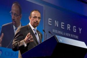 Khalid al-Falih speaks during his keynote address at the CERAWeek 2010 energy conference in Houston March 9, 2010. (REUTERS/Richard Carson)