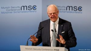 U.N. special envoy for Syria, Staffan de Mistura, at the Munich Security Conference on Sunday