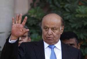 Yemen's President Abd-Rabbu Mansour Hadi during a news conference in Sanaa.