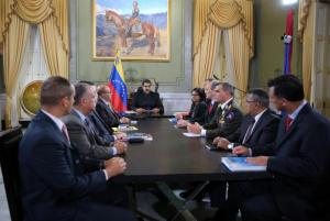Venezuela's President Maduro attends to a meeting with ministers and other Venezuelan authorities at Miraflores Palace in Caracas