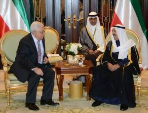 Emir of Kuwait Sheikh Sabah al-Ahmad al-Jaber al-Sabah with Palestinian President Mahmoud Abbas. KUNA