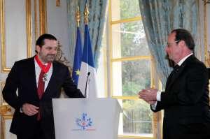 Hollande and Hariri at the Elysee on Monday