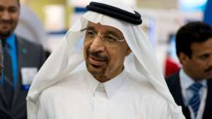 Saudi Aramco Chief Executive Officer Khalid al-Falih speaks to the media at the company's booth during Petrotech 2014, a petrochemicals conference, at the Bahrain International Exhibition Centre in Manama May 19, 2014. REUTERS/Hamad I Mohammed/File Photo - RTX2DC79