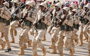 Sudan's Rapid Support Forces (RSF) march during the inauguration in Khartoum, Sudan, May 13, 2017