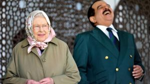 The King of Bahrain Hamad bin Isa Al Khalifa, laughs as he stands with Britain's Queen Elizabeth II as they attend the Royal Windsor Horse Show, which is held in the grounds of Windsor Castle in Windsor England Friday May 12, 2017.