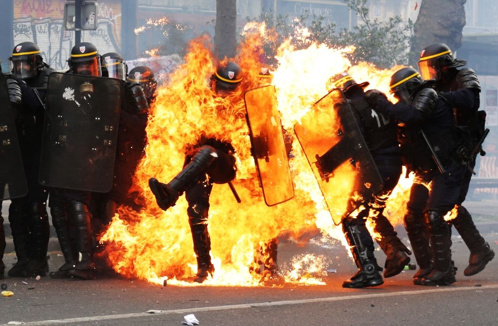 Four Policemen Hurt in May 1 Marches in France