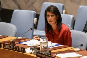 US Ambassador to the United Nations Nikki Haley delivers remarks at a Security Council in April at the United Nations Headquarters, in New York.