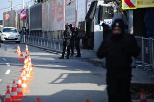 Turkish police stand guard outside the Reina nightclub by the Bosphorus, which was attacked by a gunman, in Istanbul