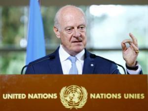 UN Special Envoy for Syria de Mistura attends a news conference in Geneva
