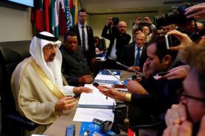 Saudi Arabia's Energy Minister al-Falih and OPEC Secretary General Barkindo talk to journalists before an OPEC meeting in Vienna