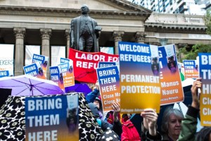 A rally demanding justice for refugees in Melbourne, Australia, last month.Credit