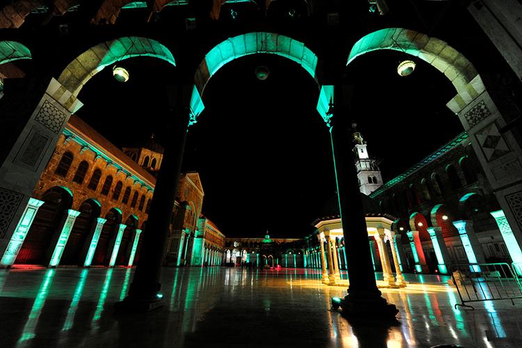 Syrian Regime Illuminates Historic Umayyad Mosque with 'Tacky Casino Lighting'