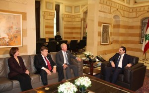 Prime Minister Saad al-Hariri meets with a delegation from the US Senate in Washington