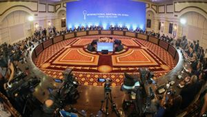 A general view shows the fifth round of Syria peace talks in Astana on July 5.