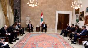 Lebanese President Michel Aoun meets with the ambassadors of the five permanent members to the UN Security Council, and representatives of the European Union, the United Nations and the Arab League, October 16, 2017