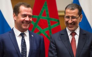 Morocco's Prime Minister Saadeddine al-Othmani (R) meets his Russian counterpart Dmitri Medvedev in Rabat on October 11, 2017