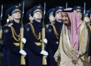 Saudi Arabia's King Salman arrives at Vnukovo airport outside Moscow