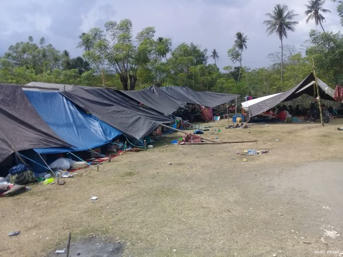 Affected families temporary reside in makeshift tents