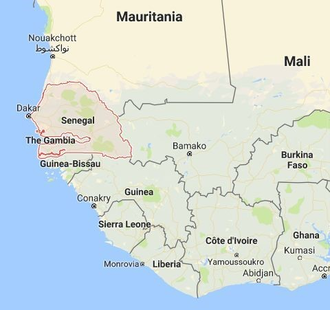 The country outlined in red is Senegal