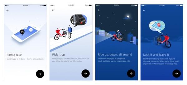 App screens for JUMP Bikes