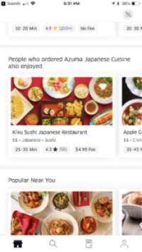 Screenshot from Uber Eats app showing restaurant recommendation