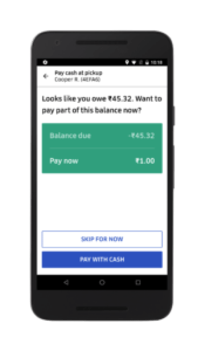 Mobile interface payment due