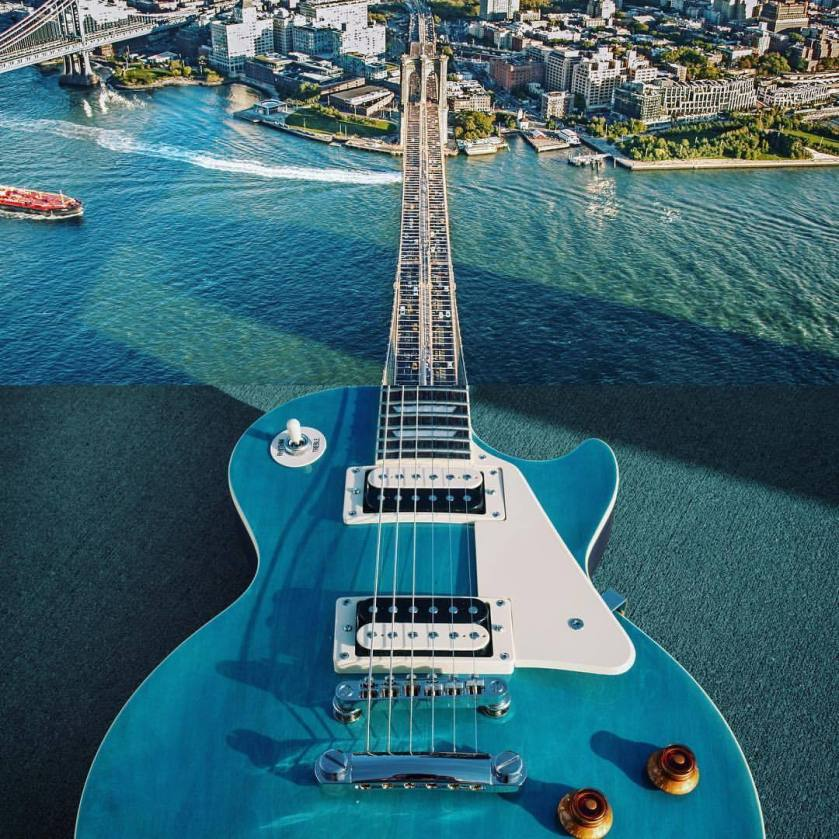 Two combined photos: the body of a guitar and a suspension bridge, which looks like the neck of the guitar