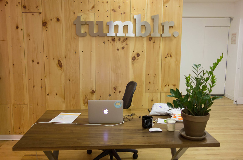 """Photo of """"tumblr"""" logo on a wall."""