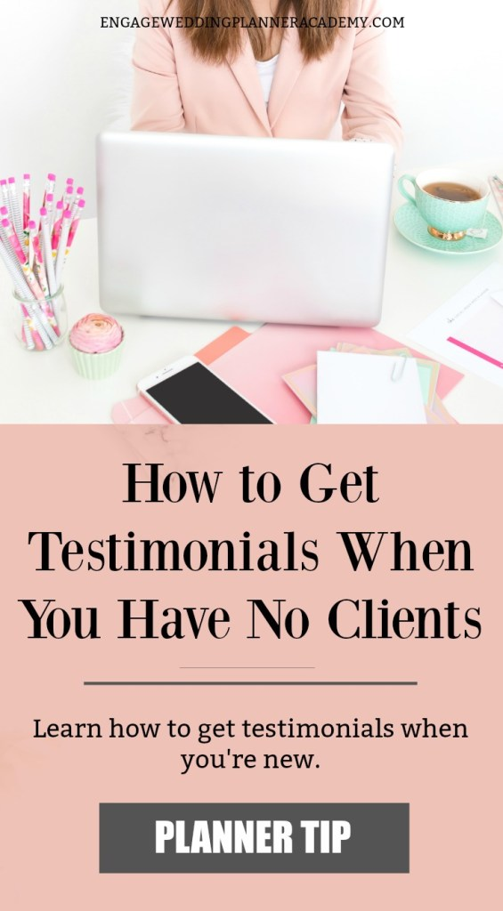 How to Get Wedding Planner Testimonials When You Have No Clients. Testimonials are a great way to provide brides with reassurance that you're the best wedding planner to hire. Learn how to get testimonials when you're new. Effective Marketing Strategies for wedding Planners, get great customer testimonials, How to get reviews, how to get testimonials, Marketing Ideas For Small Business, Modern Marketing Wedding Planners, Wedding Planner Marketing Tips