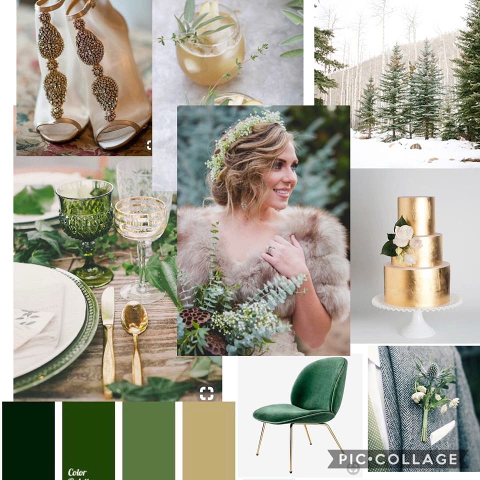 Green and Gold moodboard for a winter wedding