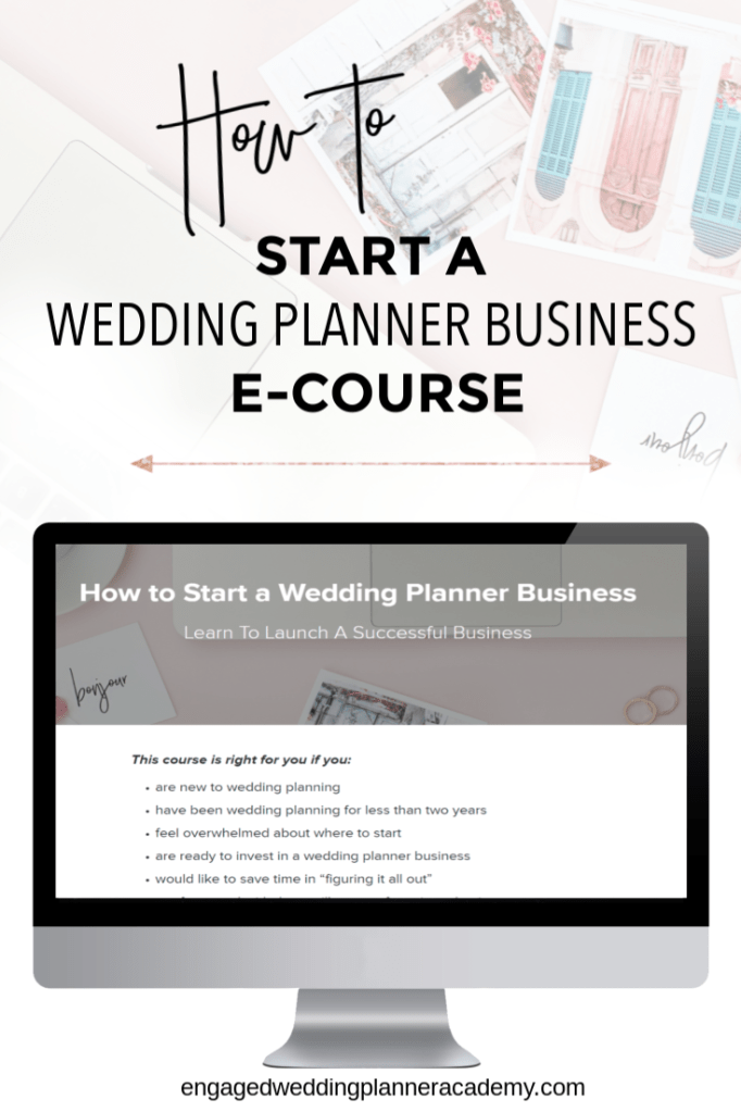 In this post I provide some information about my new online course on how to start a wedding planner business. becoming a wedding planner, How to Start a Wedding Planner Business eCourse, Wedding Business Coach, wedding planner business, Wedding Planner Class, Wedding planner course, wedding planner education, wedding planner tools