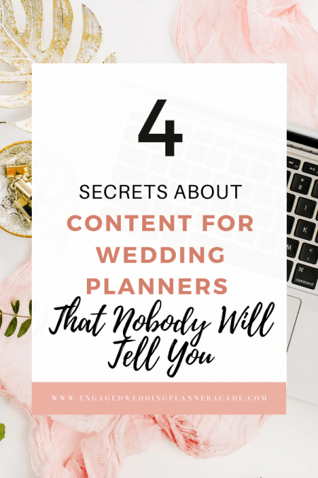 When it comes to creating content for wedding planners, there's a strategy to getting your words in front of your ideal clientele. Learn what they are here. | blogging wedding planner, content for wedding planner, wedding planner blog post ideas, wedding planner blog posts, wedding planner blog topics, wedding planner instagram content, wedding planner social media content, wedding planning advice blog, wedding planning blog post