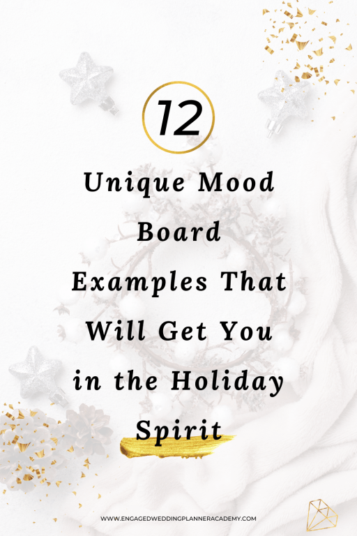 12 Unique Mood Board Examples That Will Get You in the Holiday Spirit | aesthetic moodboard, Christmas wedding, holiday wedding, holiday wedding mood boards, inspiration board, mood board design, Mood Board Examples, moodboard example, moodboard online