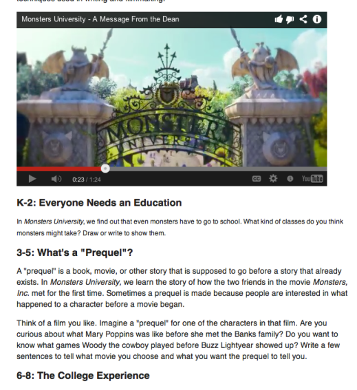 Video Writing Prompt for Monsters University Trailer