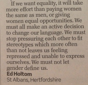 Excerpt from Ed Holtom's letter in the Telegraph