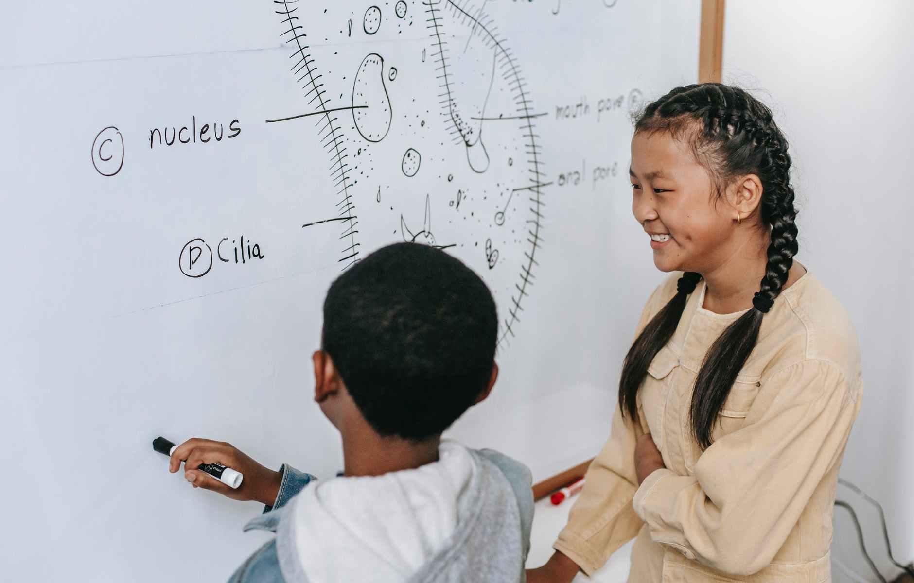 happy multiethnic children discussing structure of primitive organism