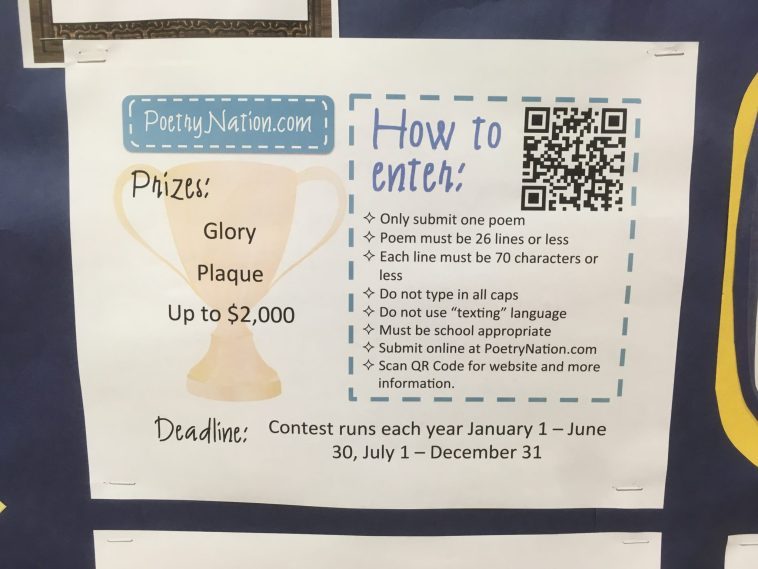 Writing contest bulletin board with basics of each contest and QRCode so students can quickly and easily access more info and enter their writing in the contest.