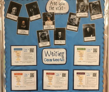 Seven great reasons to have a writing contest bulletin board in your high school classroom.