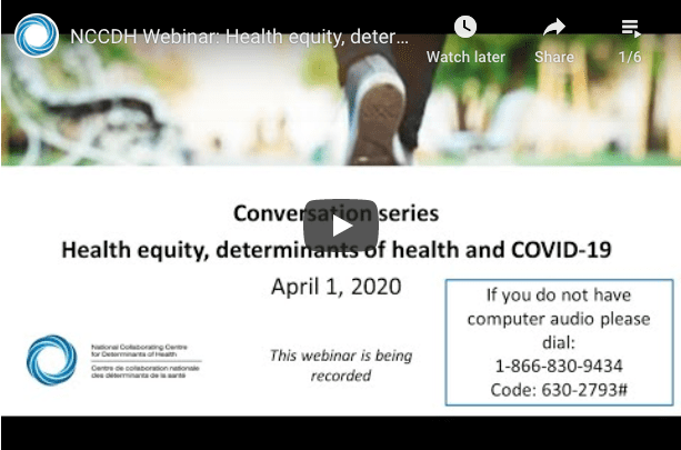 Conversation series: Health equity, determinants of health and COVID-19