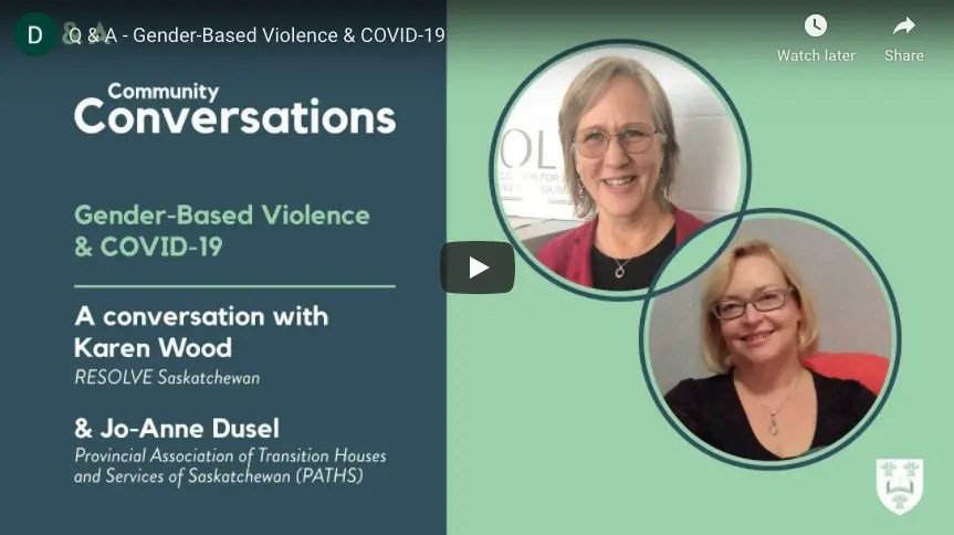 COVID-19, Gender-Based Violence (GBV) & Intimate-Partner Violence (IPV): Q&A with Karen Wood & Jo-Anne Dusel