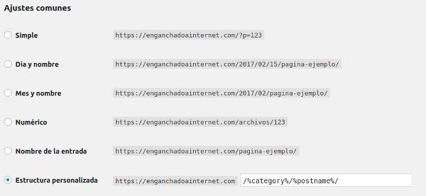 Tipos de URL en WordPress