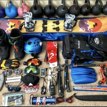 kettlebells and splitboard gear